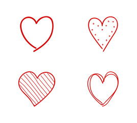 Hand drawn hearts icons - cute sketch. Vector.