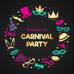 Glossy poster with funny costumes for Carnival Party. Vector.