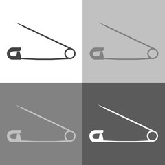 Vector icon image safety pin.  Vector icon set  on white-grey-black color
