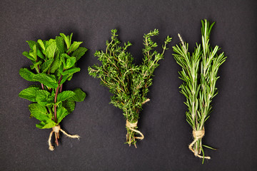 Useful herbs. Mint. Thyme. Rosemary. Fragrant. Green. Freshness. For your design. Isolated.
