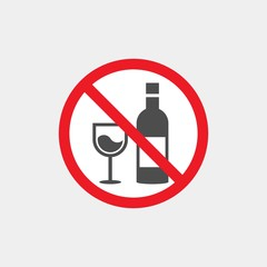 Prohibiting vector sign. Prohibiting flat vector icon. Drinking alcohol is prohibited sign. No alcohol