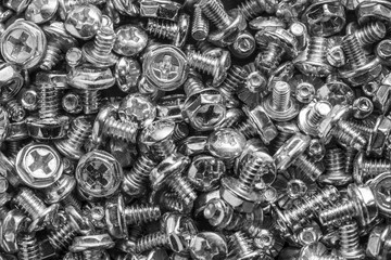 Texture of silver computer botls or screws