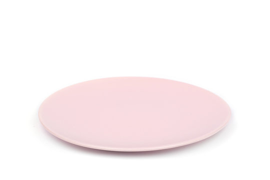 faience small pink plate pastel color