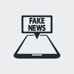 Icono plano FAKE NEWS en movil perspectiva en fondo gris