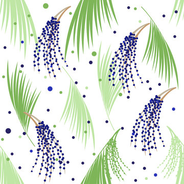 Seamless pattern berries and leaves of Acai