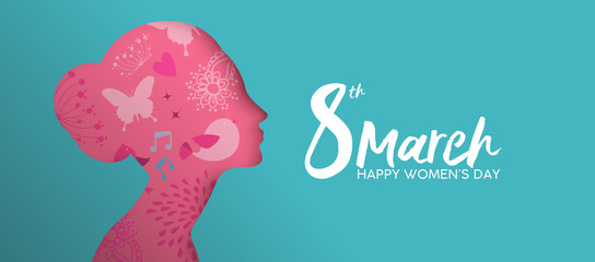 Happy Womens Day pink paper cut girl face banner