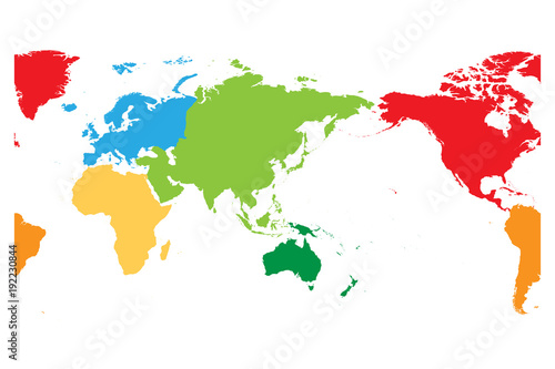 World map divided into six continents. Asia and Australia ...