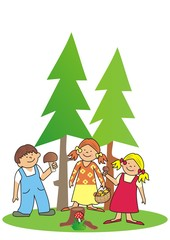 kids and mushroom at forest, vector icon, colored illustration