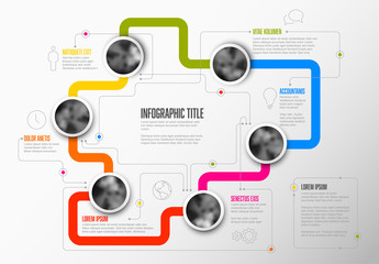 Path Infographic with Photo Inserts on Colorful Lines