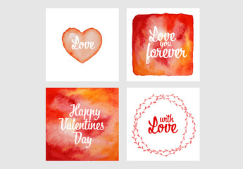 4 Valentine's Day Digital Card Layouts