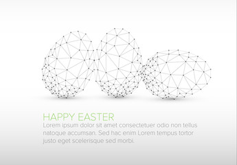 Digital Easter Card with Polygonal Outlined Egg Elements