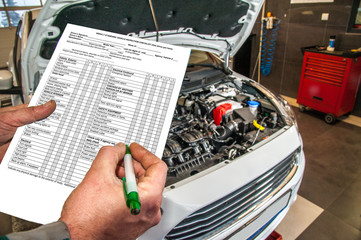 checklist / checklist when checking the technical condition of a car in a car service