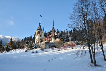 Peles Castle in winter time, located in the Carpathian Mountains, Sinaia, Romania