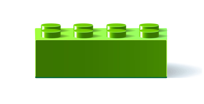 Green icon Lego. 3D Lego. Constructor. Building block toy. Green building block toy with shadow. Isolated on white background. Vector illustration Eps10 file