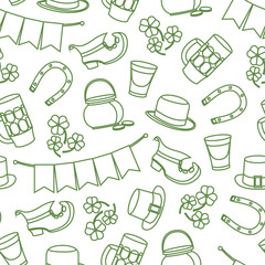 St. Patricks Day vector design of elements seamless pattern