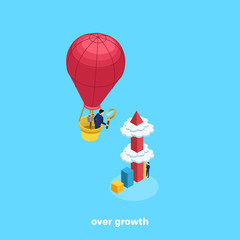 very high column diagram piercing clouds and a man in a business suit with a magnifying glass on a balloon, isometric image