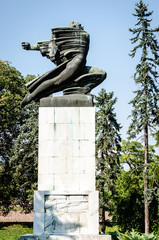 Belgrade, Serbia - July 29, 2014: Monument of Gratitude to France ahead of the Kalemegdan fortress