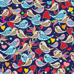 Colorful doodle hand drawn birds, love hearts, paisley flowers seamless pattern. Blue vector background wallpaper with multicolor funny birds, love hearts, stars, polka dots, paisleys. Bright design.