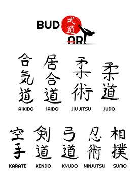 Aikido, kendo, iaido, sumo, karate, kyudo, judo, jiu jitsu, ninjutsu - vector japanese symbols and hierogliph of martial arts. Sport fight icons big set