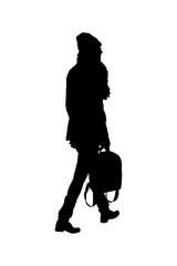 Graphic Silhouette Woman with Bag Walking