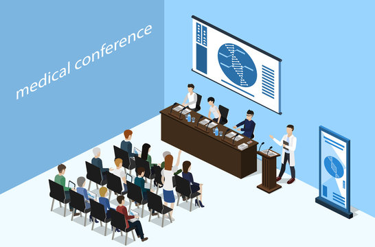 Isometric 3D vector illustration concept report at a medical conference with students
