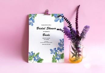 Blue Wildflower Bridal Shower Invitation Layout 1