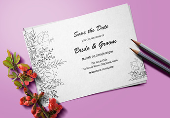 Floral Line Art Save-The-Date Card Layout 1