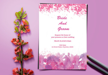 Butterflies and Watercolor Wedding Invitation Layout 1