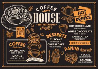 Coffee restaurant menu. Vector drink flyer for bar and cafe. Design template with vintage hand-drawn food illustrations.
