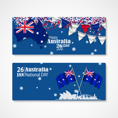 Happy Australia Day Celebration poster or banner Background set.