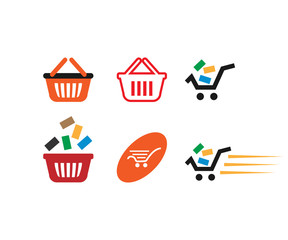 Collection of shopping cart template vector
