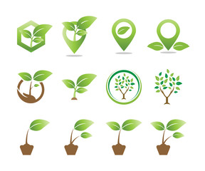 Collection of agriculture logo icon template vector