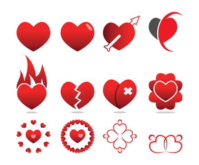 Collection of love heart symbol template vector set
