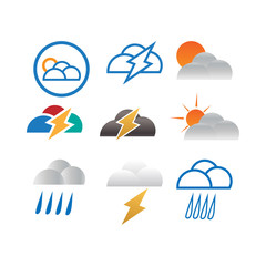 Collection of cloud weather template vector