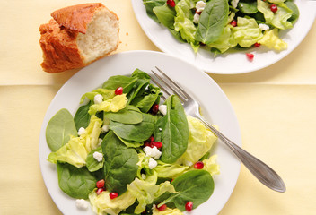 Spinach and Bibb lettuce with goat cheese and pomegranate seeds