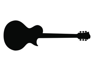 High Quality Hand Drawn Black Silhouette of an Heavy Metal Guitar