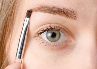 Female eye natural brush for painting eyebrow