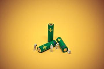Alcaline battery utilisation. Battery recycling concept. Macro photo