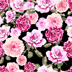 Beautiful watercolor pattern with flowers rose and peony.