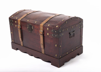 Wooden brown chest with metal handles and leather belts