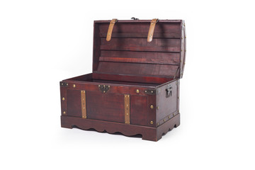 Wooden brown chest with open cover