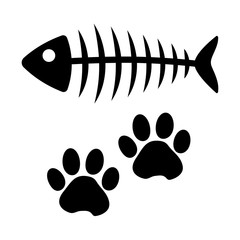 Fish bone and cat paw track. Black silhouette. Vector illustration