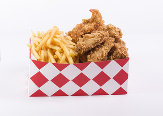 Fries with chicken in box