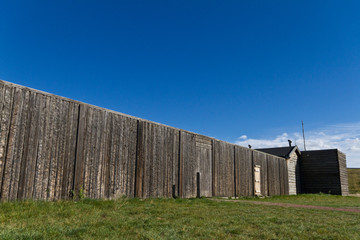 Wooden wall on an old frontier fort