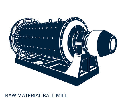 raw material ball mill (isolated monochrome graphic image, the 3\4 in the perspective)