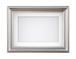 Isolated Silver Frame. 3D render of Vintage Silver Frame with passe-partout on blue background....