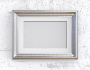 Silver Frame on white concrete wall. 3D render of Vintage Silver Frame with passe-partout on concrete wall. Blank for Copy Space.