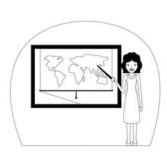 female teacher in geography class vector illustration design