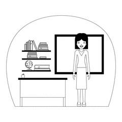 female teacher in classroom vector illustration design