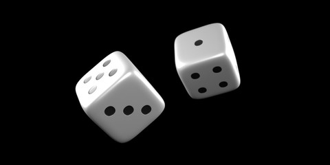 Close up of a dice throw mid air.